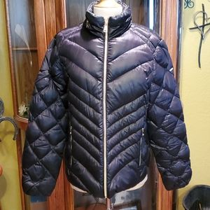 BEBE NAVY PUFFER COAT XL 10% FEATHER